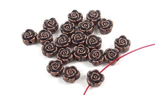 (20 Pcs Antique Copper Pewter Rose Flower Beads for Pendant Bracelet DIY Jewelry Making)