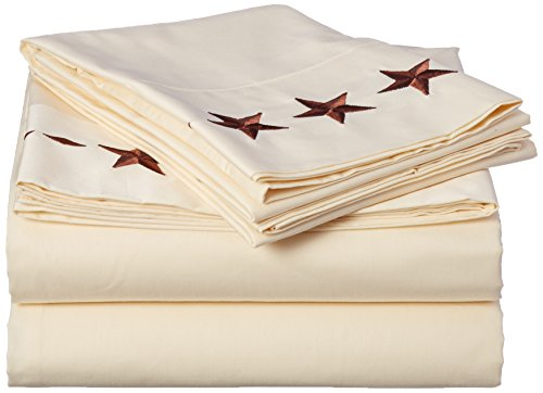 HiEnd Accents Western Embroidered Star Sheet Set, Full, C...