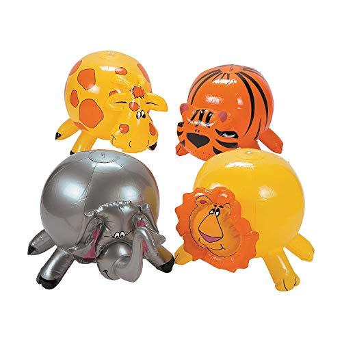 Fun Express - Zoo Animal-Shaped Beach Balls - Toys - Inflates - Beach Balls - 12 -
