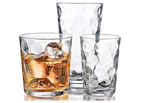 James Scott 12-Piece Drinking Glassware Set - Includes: 4-17oz Highballs Glasses, 4-13oz DOF Glasses, 4-7oz Juice Glasses - Perfect for Water, Juice, Beer, Wine, and Cocktails