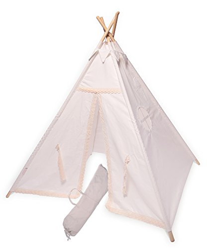Teepee Play Tent for KIDS by OffSpringInspired |Premium Quality indoor Kid tents, 100% Cotton Canvas Material and 4.5 Feet height, Design (Off (Jumbo White Bunny Kit)