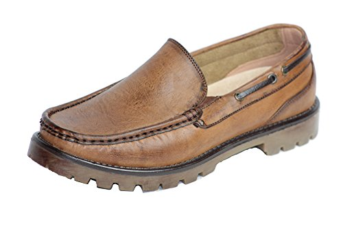 beverly st Men's Leather Casual Slip on Loafer Boat Shoes (Free), Brown 9.5 Brown Leather Boat