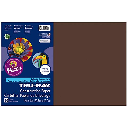 (Pacon Tru-Ray Construction Paper, 76 lbs., 12 x 18, Dark Brown, 50 Sheets/Pack)