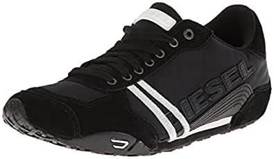 Diesel Men's Harold Solar Lace-Up Sneaker, Black/White,7 M US