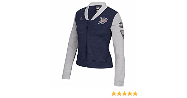 adidas Oklahoma City Thunder NBA Navy Blue On-Court Full Zip Track Jacket w/Patches Jacket for Women