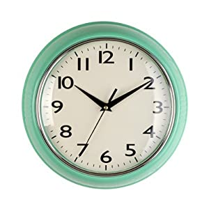 Mint green wall clock Amazoncouk Kitchen Home