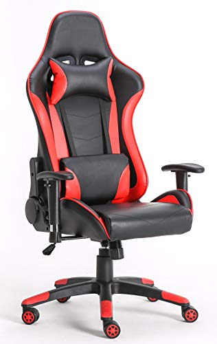Requena Gaming Racing Sport Elite Desk Office Chair Adjustable Computer Chair Lumbar and Head Pillow Chair (Red-Black)