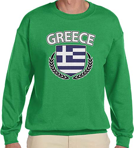 - Amdesco Men's Greek Flag Wreath Greece Flag Shield Crewneck Sweatshirt, Kelly Green 2XL