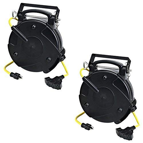 Case of 2 Pro 65 Foot 12/3 Quad Tap Industrial Retractable Heavy Duty Extension Cord Reel 8665TFQ