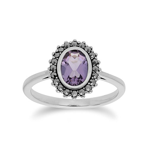 Amethyst Marcasite 925 Silver Ring - 8