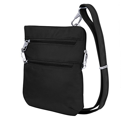 Travelon Anti-Theft Classic Slim Dbl Zip Crossbody Bag, Black (Best Anti Theft Travel Purse)