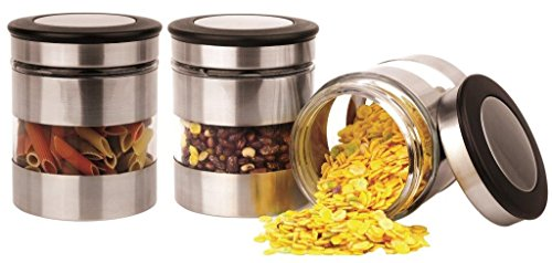 Home Fashions 3 Piece Kitchen Canisters, Glass and Stainless Steel Lids Storage (Small Kitchen Canister)