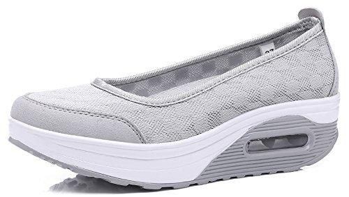 Ausom Womens Plattform Toning Shape Ups Skor Fitness Gå Avslappnad Slip På Hög Klack Sneakers Grå
