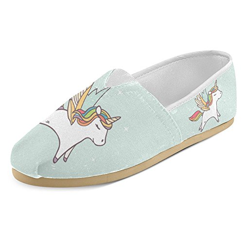 Cheap InterestPrint Women's Loafers Classic Casual Canvas Slip On Fashion Shoes Sneakers Mary Jane Flat Cute Running Unicorn Size 6