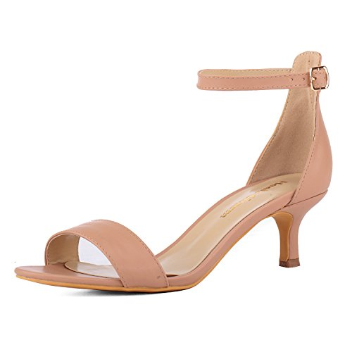 - Women's Heeled Sandals Ankle Strap High Heels 5CM Open Toe Low Sandals Bridal Party Shoes Nude Size 8