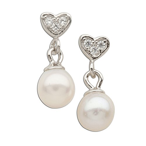 Girl's Sterling Silver Heart Earring with Drop Cultured Pearl and Screw Backs ()