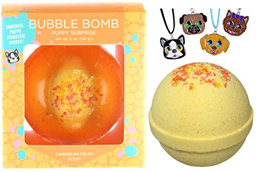 Girls Puppy Bubble Bath Bomb with Surprise Kids Dog Necklace Inside by Two Sisters Spa. XL Large Lush Fun Spa Fizzy Gift. 99% Natural. Kid Friendly. USA Made. Yellow Color, Fruit Scent.
