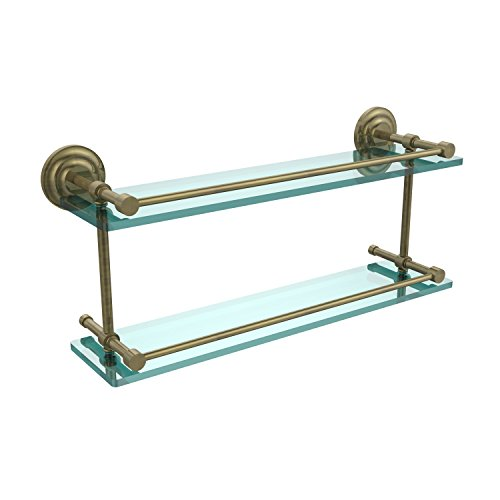 Glass Gallery Rail Shelf - Allied Brass QN-2/22-GAL-ABR Que New 22 Inch Double Glass Shelf with Gallery Rail, Antique Brass