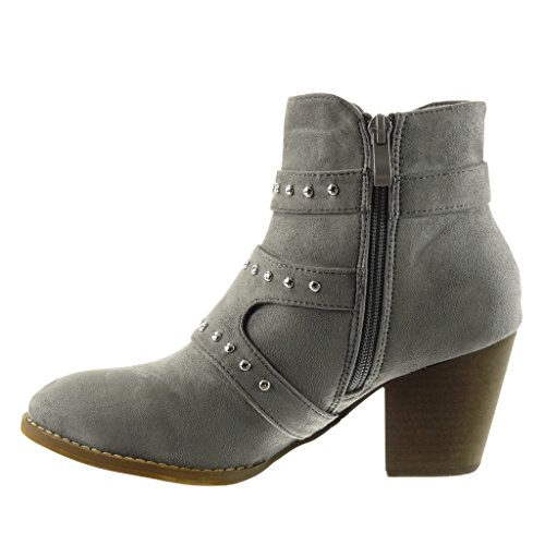 Booty Angkorly Grey Ankle biker studded boots 7 buckle Block cavalier Fashion high Shoes Women's CM thong heel qwrFRXq