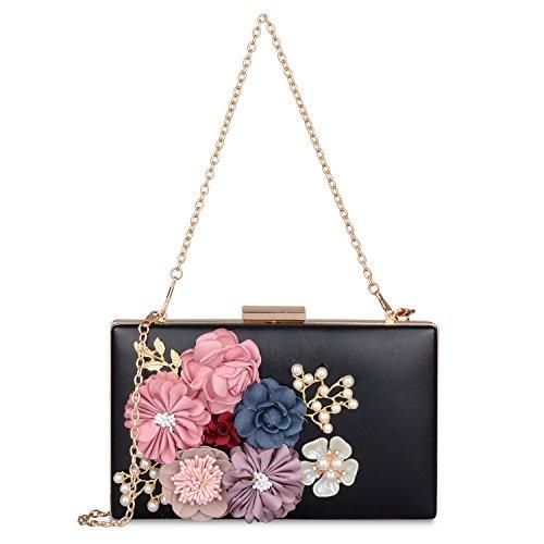 Flower Evening Wedding Bags New Cocktail Handbags Pearl Clutch Women's for Clutch Purse Black Wedding fit 5ptaqKOKfH