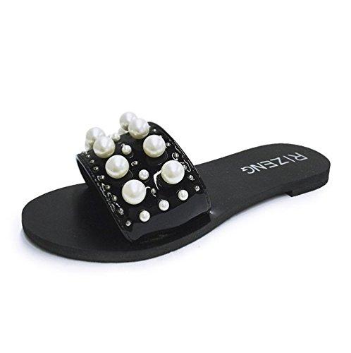 Sandales Pantoufles Plat Boucle Ceinture Perle ext Usure Chausson de Chaussures Shoes Fond Adorab tIxaFqwt