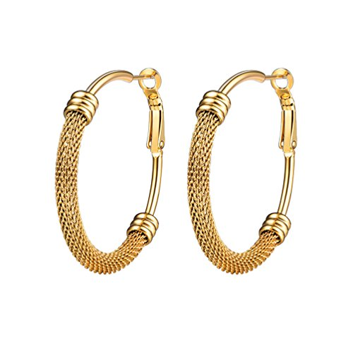 (PROSTEEL Gold Hoop Earrings for Women 18K Plated Statement Jewelry Ethiopian Basketball Wives Circle Round Vintage Huggie Earrings)