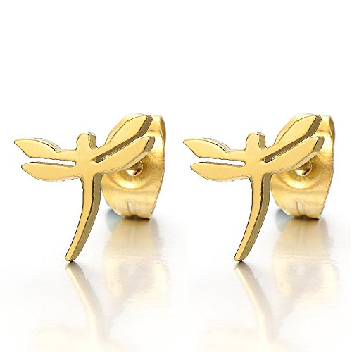 Pair Gold Color Dragonfly Stainless Steel Stud Earrings for Women and (Dragonfly Stud Earrings)