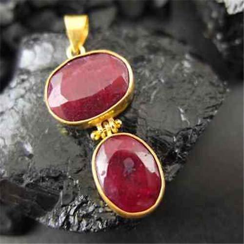 Ancient Design Handmade Hammered Natural Ruby Pendant 22K Gold Over 925K Sterling Silver ()