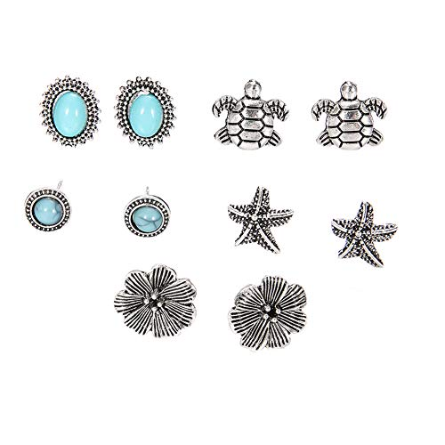 fomoisclU Womens Earrings, 5 Pairs Starfish Turtle Flowers Artificial Turquoise Boho Stud Earrings Jewelry Valentine's Day/Wedding/Anniversary/Party/Mother's Day/Birthday Presents