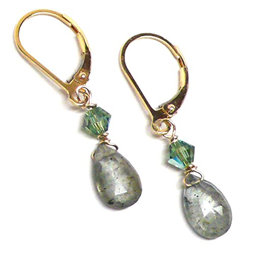 - Moss Aquamarine Briolette Lever Back Earrings Gold-Filled Austrian Crystal