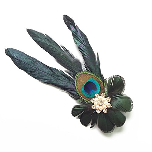 Merroyal Vintage 1920's Peacock Feather Loops Headband Fascinator Headpiece Hair clips for Fancy Party (Stlye 1)