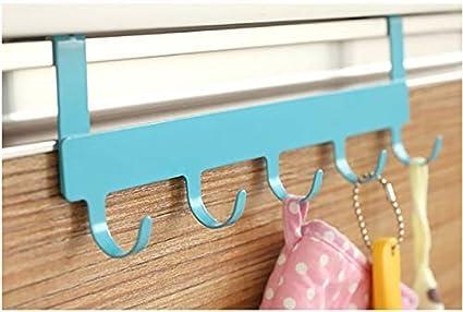 MosQuick Metal Hanging Towel Rack Hook Organizer over Door (Blue)
