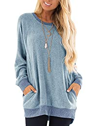 Womens Casual Color Block Long Sleeve Round Neck Pocket T...