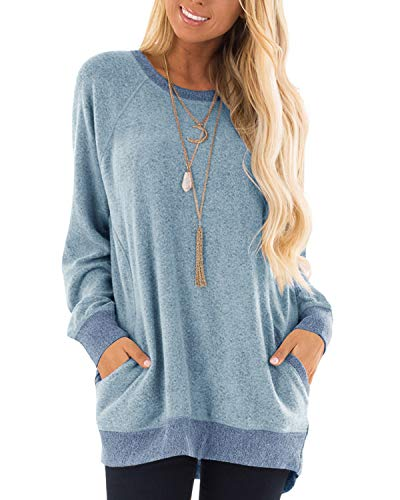 (GADEWAKE Womens Casual Color Block Long Sleeve Round Neck Pocket T Shirts Blouses Sweatshirts Tops Gray Blue)