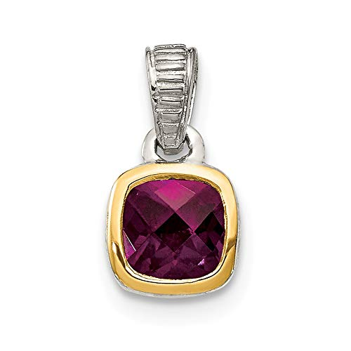 925 Sterling Silver 14k Accent Rhodolite Red Garnet Pendant Charm Necklace Gemstone Fine Jewelry Gifts For Women For Her