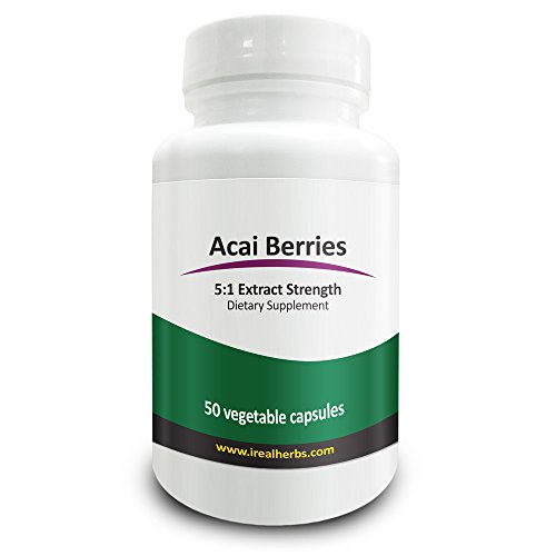 Pure Acai Berry Extract (Real Herbs Acai Berry Extract - Derived from 2,000mg of Acai Berries with 5 : 1 Extract Strength - High Quality Cleanse Supplement - 50 Vegetarian Capsules)