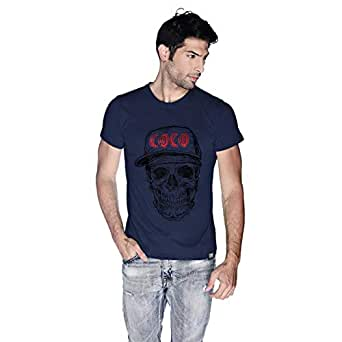 Creo Black Red Coco Skull T-Shirt For Men - L, Navy Blue