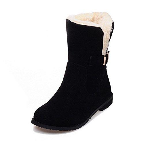 Allhqfashion Ronde Gesloten Neuslaarzen Met Damessluiting Gematteerde Low-top Massieve Zwarte Laarzen