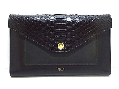 (セリーヌ)CELINE 財布 ラージフラップオンチェーン 黒×ダークグリーン 105214AD6.07OC 【中古】   B07RLSQJJ4