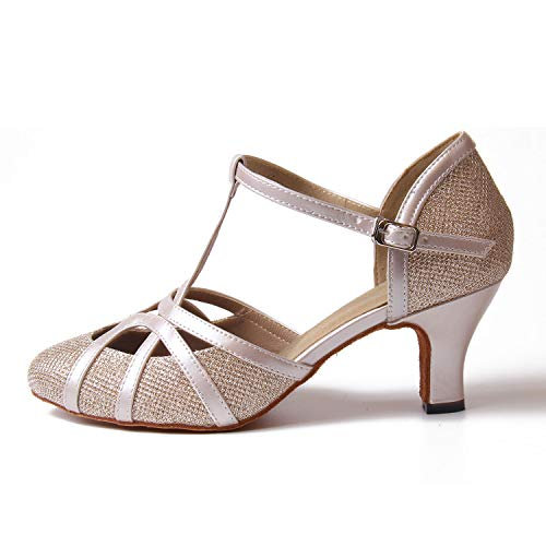 Cerrado Salón Tacones Noche Tango Latín Champán 6cm Boda correa De Mujer Resplandecer La Zapatos T Baile Jywmsc Salsa fgUqPU