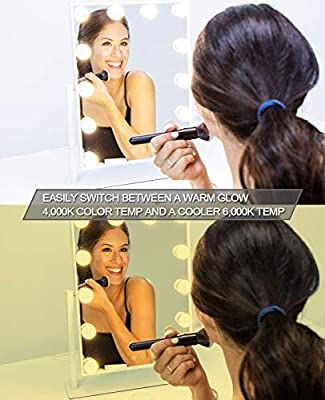 Waneway Lighted Vanity Mirror with Dimmable LED Bulbs and Touch Control Design