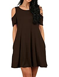 Women's Cold Shoulder Loose Fit Flowy Style Dress Tshirt...