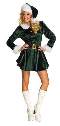 Rubie's Costume Women's Santa's Helper Dress, Green/White, Medium