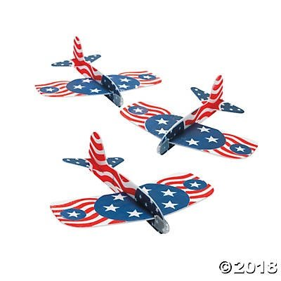 24 Foam Patriotic Gliders~4th. Of July~Red, White and Blue