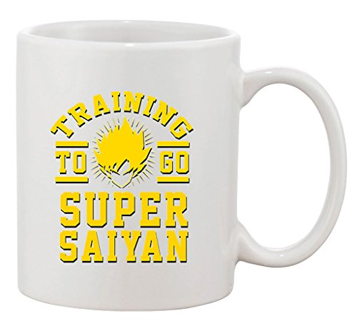 Training To Go Super Saiyan Anime Gym Workout Funny Parody TV White Coffee Mug]()