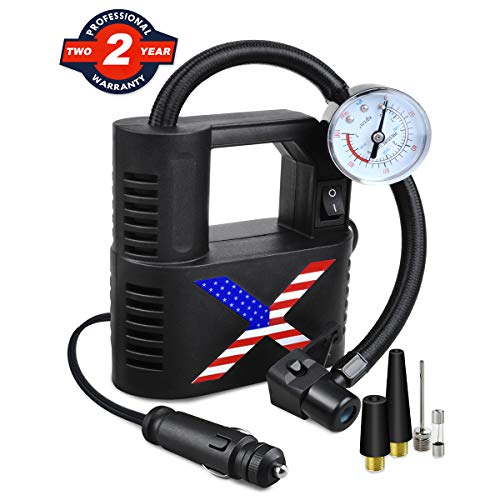 Flashmen 12V DC Portable Air Compressor Pump with Gauge 60W 100PSI Auto Tire Inflator Electrical Bicycle Pump Multipurpose Inflator for Car Ties Tyre, Bicycle, Ball, Air Mattress, Balloon and More