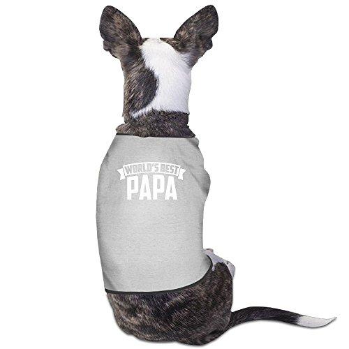 World's Best Papa Plain WarmPet Puppy T Shirt Dress Plain Sleeveless Anxiety Calming Wrap Best Holiday Gift L Gray