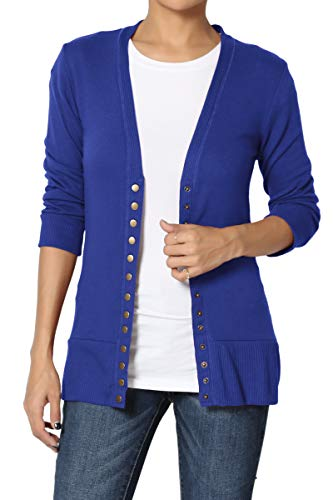 TheMogan Women's Snap Button V-Neck 3/4 Sleeve Layering Knit Cardigan Denim Blue M