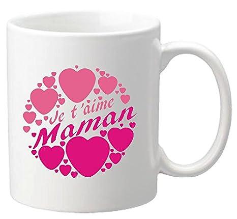 Réf2ma Taza Diseño Con Texto Je T Aime Maman Regalo