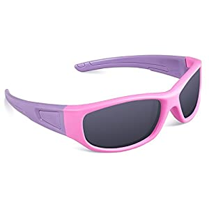 RIVBOS Rubber Flexible Kids Polarized Sunglasses Glasses for Baby and Children Age 3-10 (Mirrored Lens Available) RBK037(Pink,Black Polarized Lens)